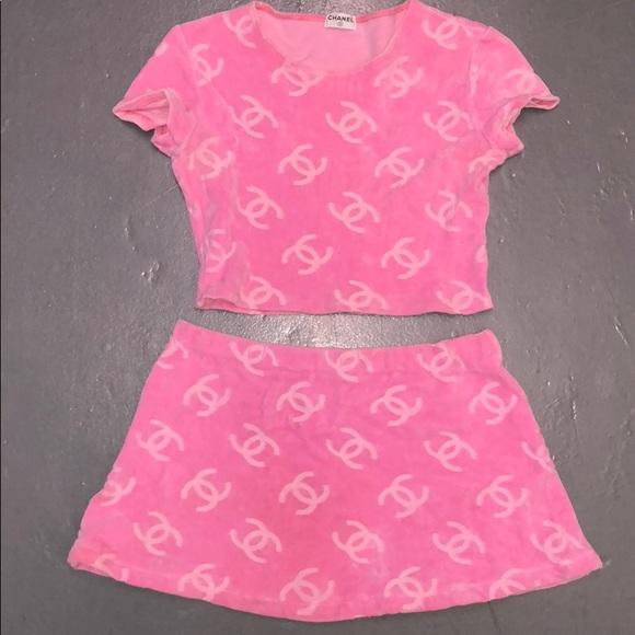 Chanel Pink Velour Crop Top & Mini Skirt